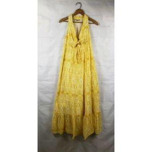Anthropologie Dress Maxi Yellow Cotton Silk Batik